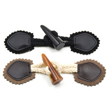 30 Pcs/lot 2-Holes Coat Buckle Buffalo Button Decorative Resin&leather Imitation Horn for Wool Sewing Accessories
