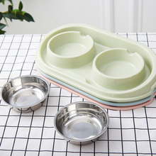 Plastic+ Stainless steel Pet Feeder Dog Bowl Puppy Eatting Water