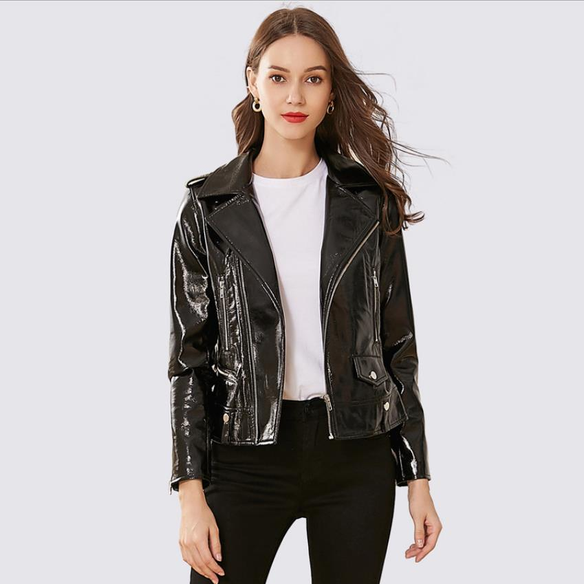 New bright fabric   leather   jackets female European American female temperament pu   leather   college locomotive lapel jacket wq2328