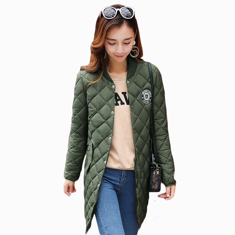 2017 NEW HOT SALE WOMEN WINTER JACKER MID-LENGTH BASEBALL COLLAR THICKEN WARM FEMALE PARKAS COTTON WADDED ZL676 ...