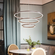 Simple modern led chandelier aluminum ring acrylic ceiling lamp bedroom living room Nordic round circular