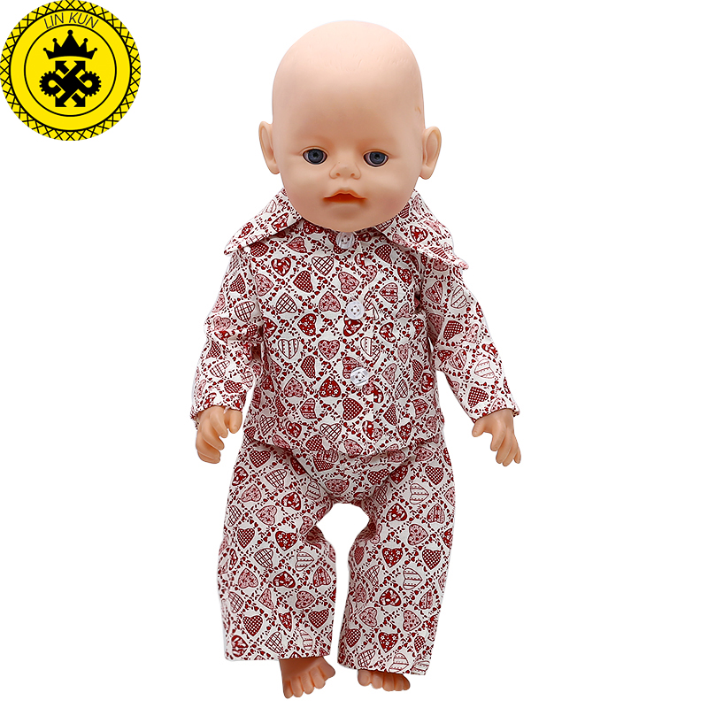 Baby Born Doll Clothes Heart-shaped pattern Shirt Pajamas Suit Fit 43cm Zapf Baby Born Doll Accessories Christmas Gift 565
