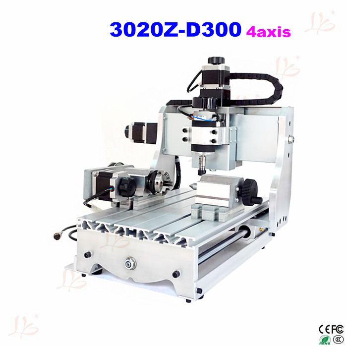3020Z-D300 4axis CNC engraving milling machine for wood metal stone carving cnc 5axis a aixs rotary axis t chuck type for cnc router cnc milling machine best quality