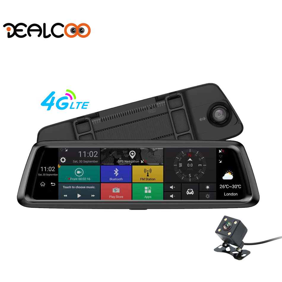 Dealcoo Mirror Dash Cam Dual Dashboard Camera Recorder 10 Screen RearView 1080P FHD Camera 4G WIFI Night Vision Parking Monitor