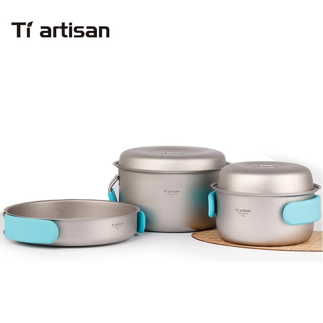 Tiartisan Pure titanium pot set folding portable cooking Pot and multi-function outdoor camping Cookware Ta8501Ti