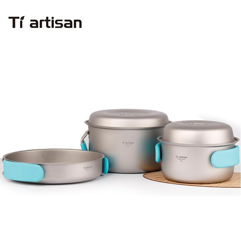 Tiartisan ensemble de casseroles en titane pur pliant marmite portable et ustensiles de cuisine de camping en plein air multifonctions Ta8501Ti