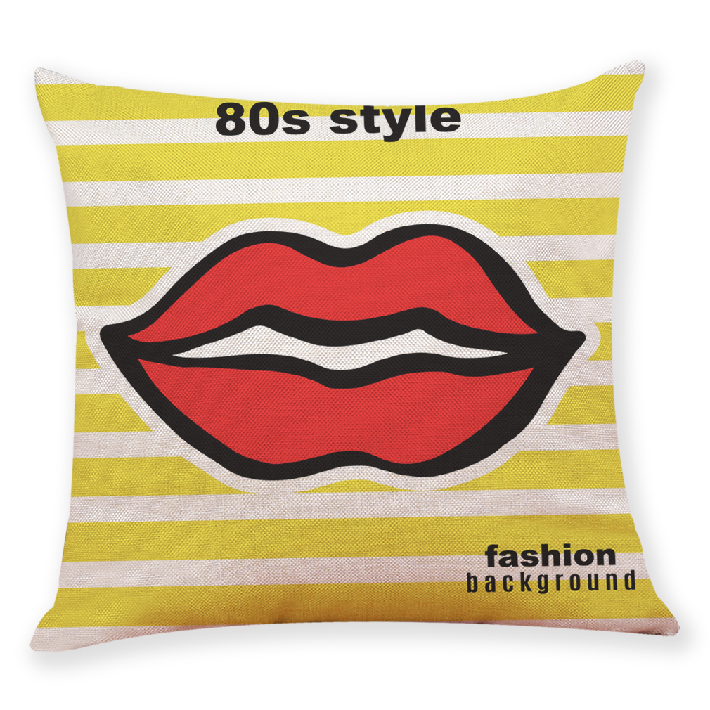 Cushion Case Gift Red lips and high heels 45X45 linen One side printing CM Creative Home Decorative Pillow Case Cojines