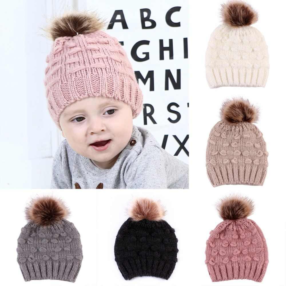491f3897ddb Puseky Newborn Baby Kids Boys Girls Knitted Crochet Winter Warm Hat Fur  Ball Pompom Hats Solid