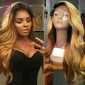 Long wavy 1b/27 blonde ombre wig heat resistant synthetic wigs cheap synthetic lace front wig with baby hair for black women