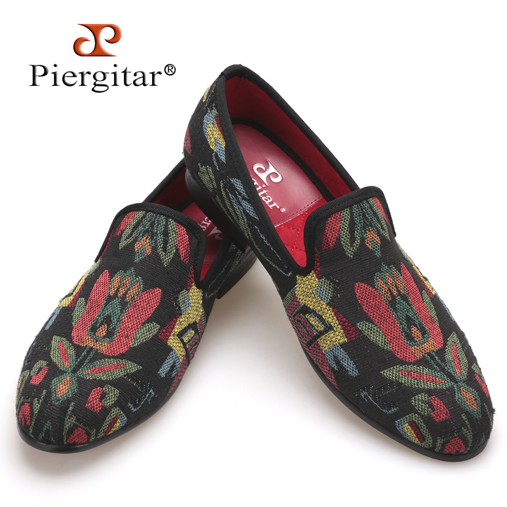 Piergitar mixed color abstract flower men knitting shoes Fashion handmade loafers occident style smoking slipper men's flats piergitar new style leopard pattern special fabrics handmade men loafers fashion men casual shoes british style smoking slipper