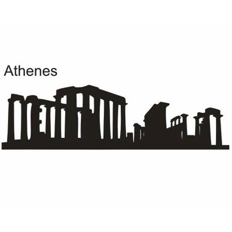 DCTAL ATHENES City Decal Landmark Skyline Wall Stickers