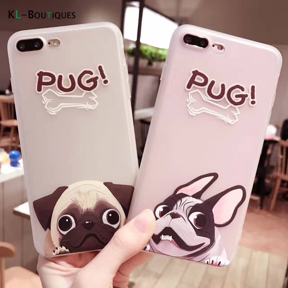 Cartoon Lovely Pugs Soft Case for iphone 7 Case Frosted Transparent Silicone TPU Cover For iphone 6 6S 7 Plus Cases Men Women