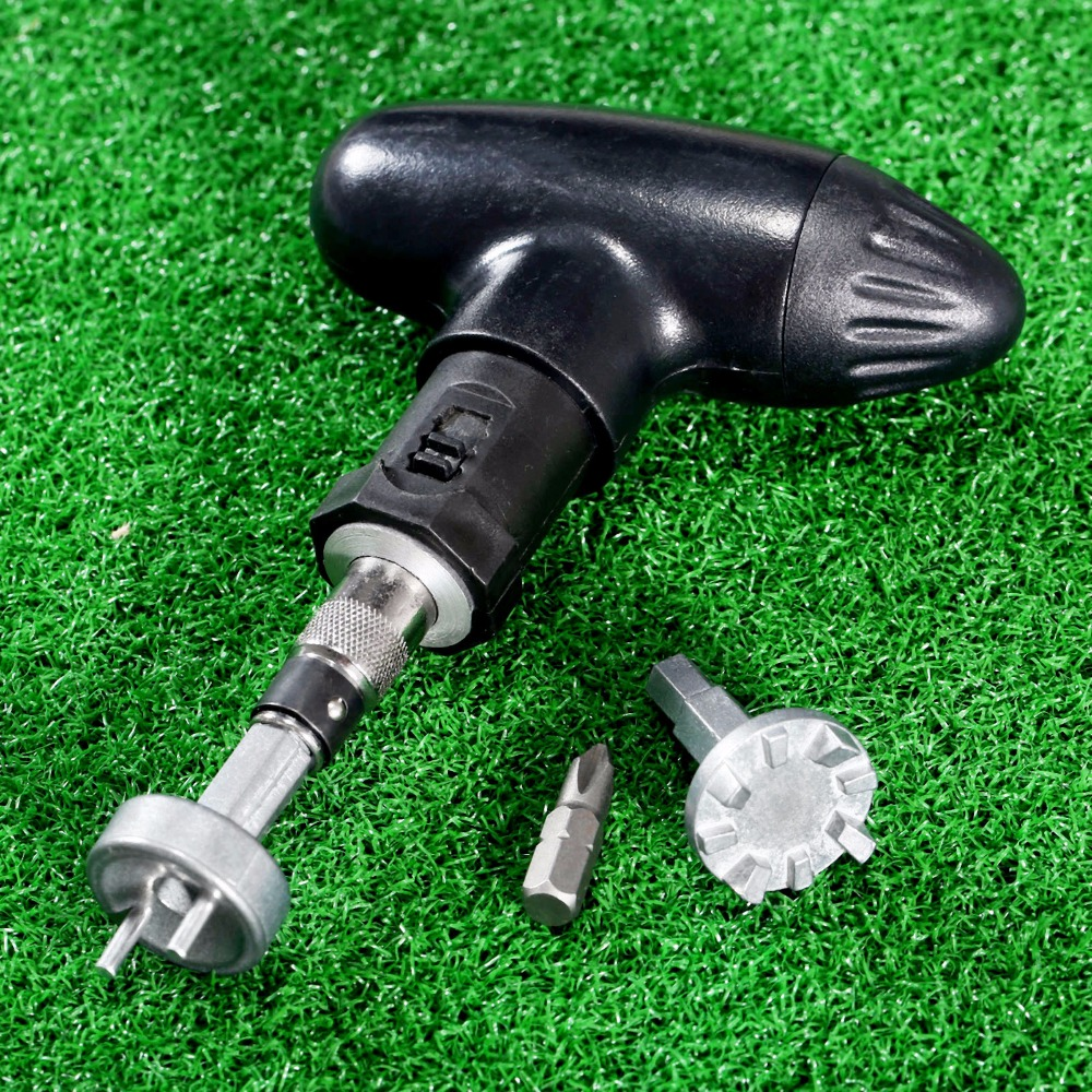 1 Set Golf Spike Ratchet Handle Wrench Tool Bits Golf Remover Ripper Steel Ratcheting Shoe Cleats Practical Club