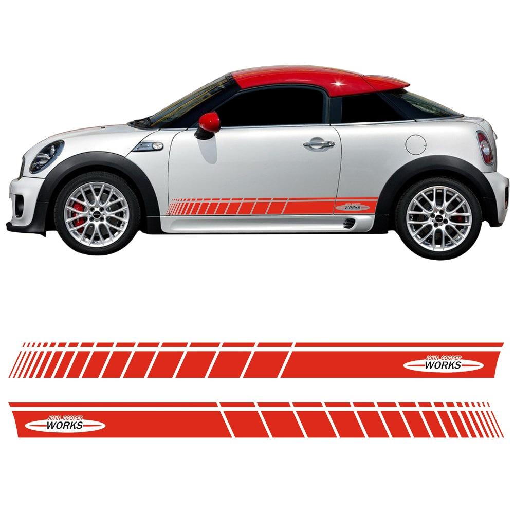 Pair of Red / Black JCW John Cooper Works Side Skirt Door Racing Stripes Decal Sticker for MINI Cooper S maserati granturismo carbon spoiler