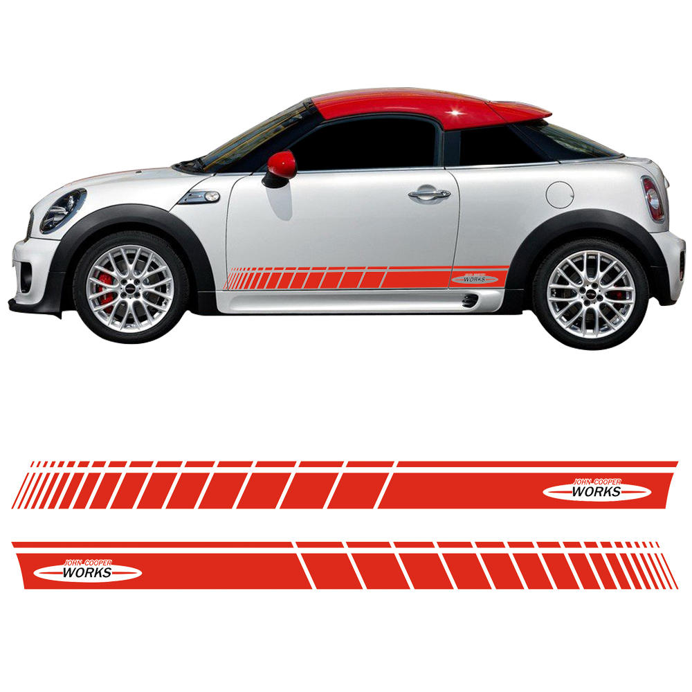 лучшая цена Car Styling Door Side Stripe Skirt Sticker Graphic Decal for Mini Cooper Coupe R58 R59 R56 F56 John Cooper Works JCW Accessories