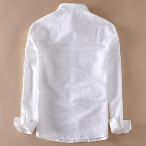 Image 2 - Brand 2020 Mens Long Sleeve Casual Linen Shirt Mens Social Turn down Collar Slim 2 Pockets Solid White Designer Dress Shirts XXL
