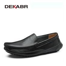 DEKABR פיצול עור גברים נעליים יומיומיות יוקרה מותג Mens ופרס מוקסינים לנשימה להחליק על נהיגה נעליים בתוספת גודל 38 48