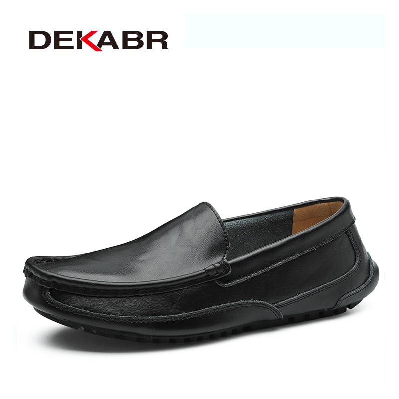 DEKABR Split Leather Men Casual Shoes Luxury Brand Mens Loafers Moccasins Breathable Slip On Driving Shoes Plus Size 38-48