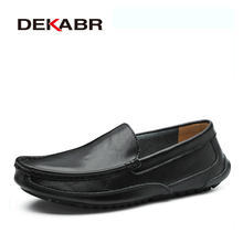 DEKABR Split Leather Men Casual Shoes Luxury Brand Mens Loafers Moccasins Breathable Slip On Driving Shoes Plus Size 38 48