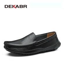 DEKABR zapatos informales de cuero partido para hombre, mocasines de marca de lujo, transpirables, sin cordones, para conducir, de talla grande 38 48