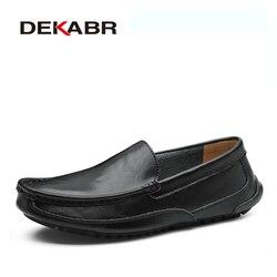 Dekabr split couro sapatos casuais masculinos marca de luxo mocassins respirável deslizamento em sapatos de condução plus size 38-48