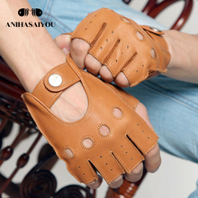 High grade new Genuine Leather gloves male driving and riding non-slip fingerless Buckskin tactical - M059