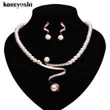 Indian jewelry 18k plated Simulated-pearl Rhinestone jewelry sets African beads Neckalce Earrings Wedding jewelry Charm schmuck