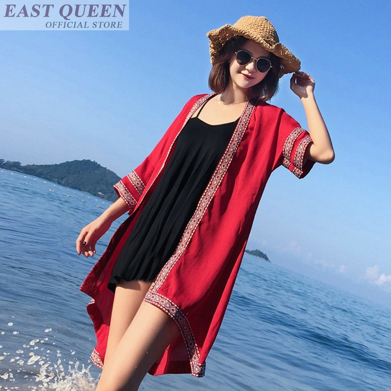 Chemise longue femme dames hauts femme été 2018 boho tunique femme hippie boho chic femmes hauts et chemisiers kimono femme DD531