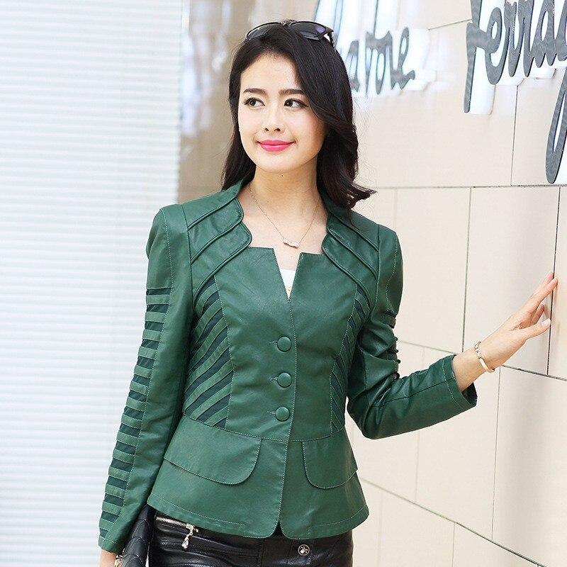 Mode green Plus coréen Manteau La Femininas Faux De Printemps 2019 Longues Casual Pu Taille Cuir Automne Black Veste Manches Femmes Nouvelle En red 1aw4xwqOZ5