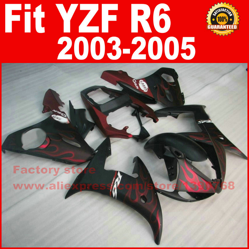Road Motorcycle body fairings kit for YAMAHA R6 2003 2004 2005 YZF R6 03 04 05  red flame black fairing bodywork part road race motorcycle fairings kit for yamaha r6 2003 2004 2005 yzf r6 03 04 05 black silver fairing kits bodywork part