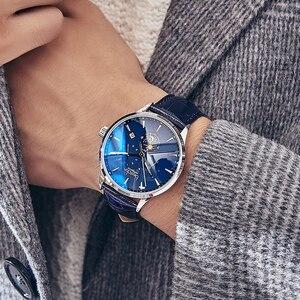Image 4 - Bestdon montre mécanique automatique, bracelet, marque de luxe, suisse, montre bracelet, en cuir bleu, Phase de lune, pour hommes, 2019