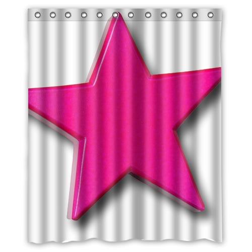 Star Pink Shower Curtain 60 X 72 Inch Bathroom