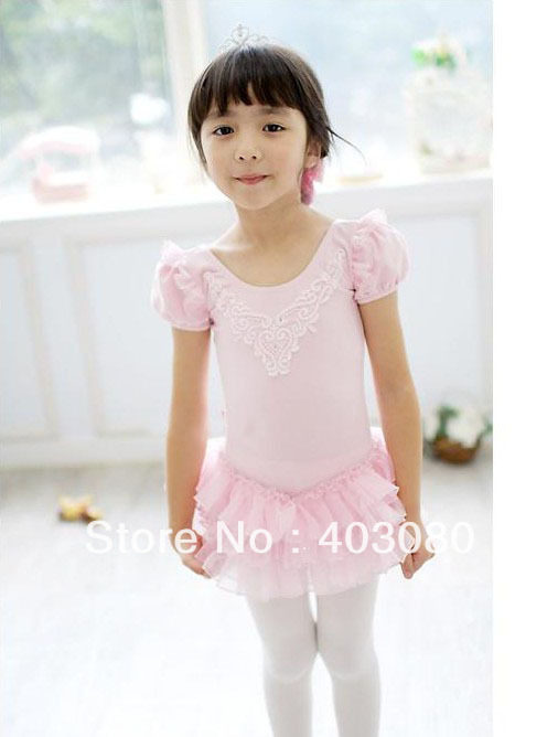 Wholesale/retail Korea pink short sleeves Children's ballet skirt,girls's  Dance and leisure  dancing dress