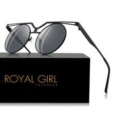 Royal Girl Brand Designer Oversized Round Sunglasses Women Metal Shade Frame Retro Mirror Sun Glasses Gafas de sol mujer ss327