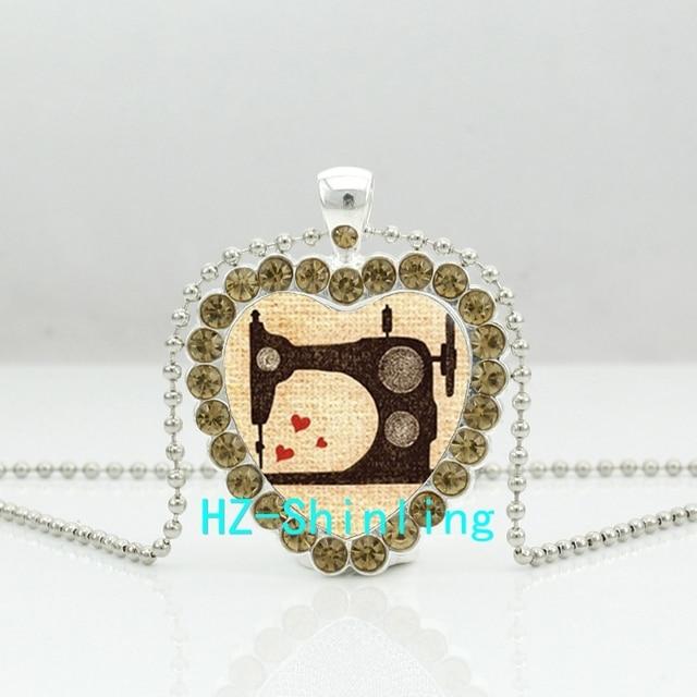 Hzshinling nueva vendimia Costura máquina cristal corazón collar ...