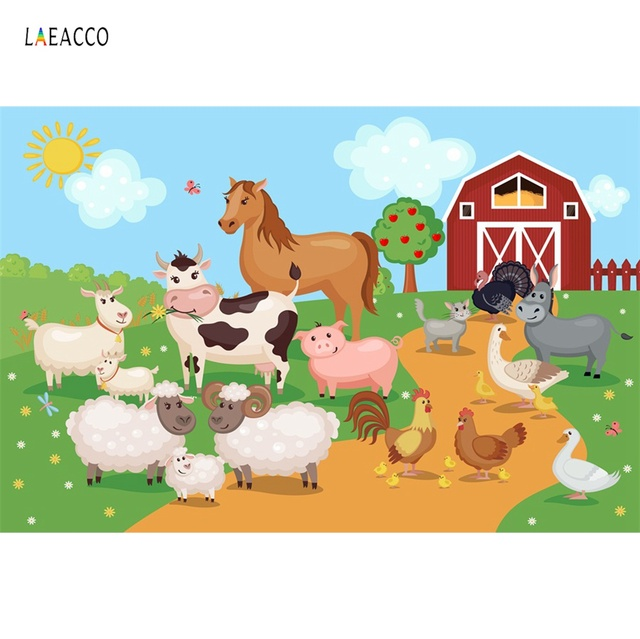 Laeacco Rural Farm Birthday Party Animal Portrait Baby Cartoon Photo Backdrops Photography Backgrounds Photocall Photo Studio