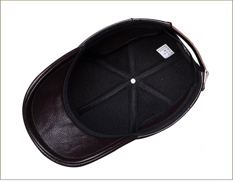Genuine Leather Embossed Mens Baseball Cap - Brown Inside View