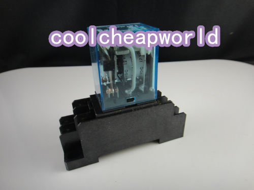 10set 12V DC Coil Power Relay DPDT LY2NJ HH62P-L JQX-13F 10A With Socket Base  цена и фото