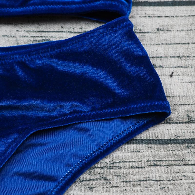 Sexy Brazilian Bikini 17 Blue Velvet Swimwear Women Swimsuit Push up Biquini Halter Bikinis Set Bathing Suit Maillot De Bain 8