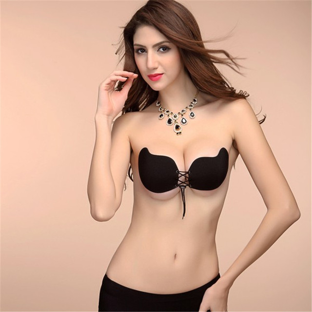 Aliexpress.com : Buy Women Front Lacing Silicone Push Up Bra Sexy ...
