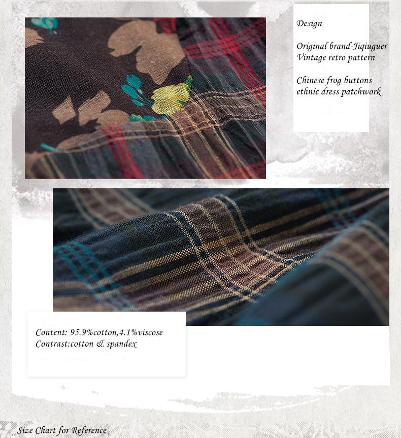 Jiqiuguer Women Flower Print patchwork Cotton Dresses vintage plaid ... ea790dd61485