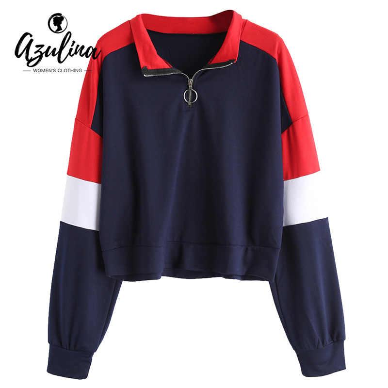 AZULINA Half Zip Front Contrasting Sweatshirt Women Long Sleeves Patchwork  Crop Top Sweatshirts Female Hoodies Autumn 1ac6ce20e