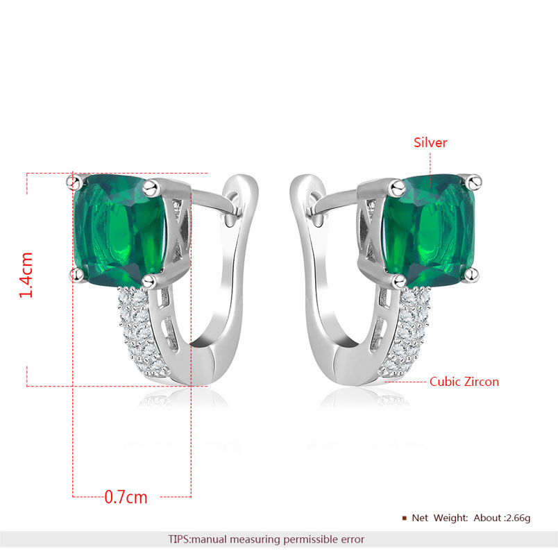 I&Zuan S925 Sterling Silver Fine Jewelry Clip Earrings For Women Geometric Green Stone Wedding Trendy Earring Aretes E129