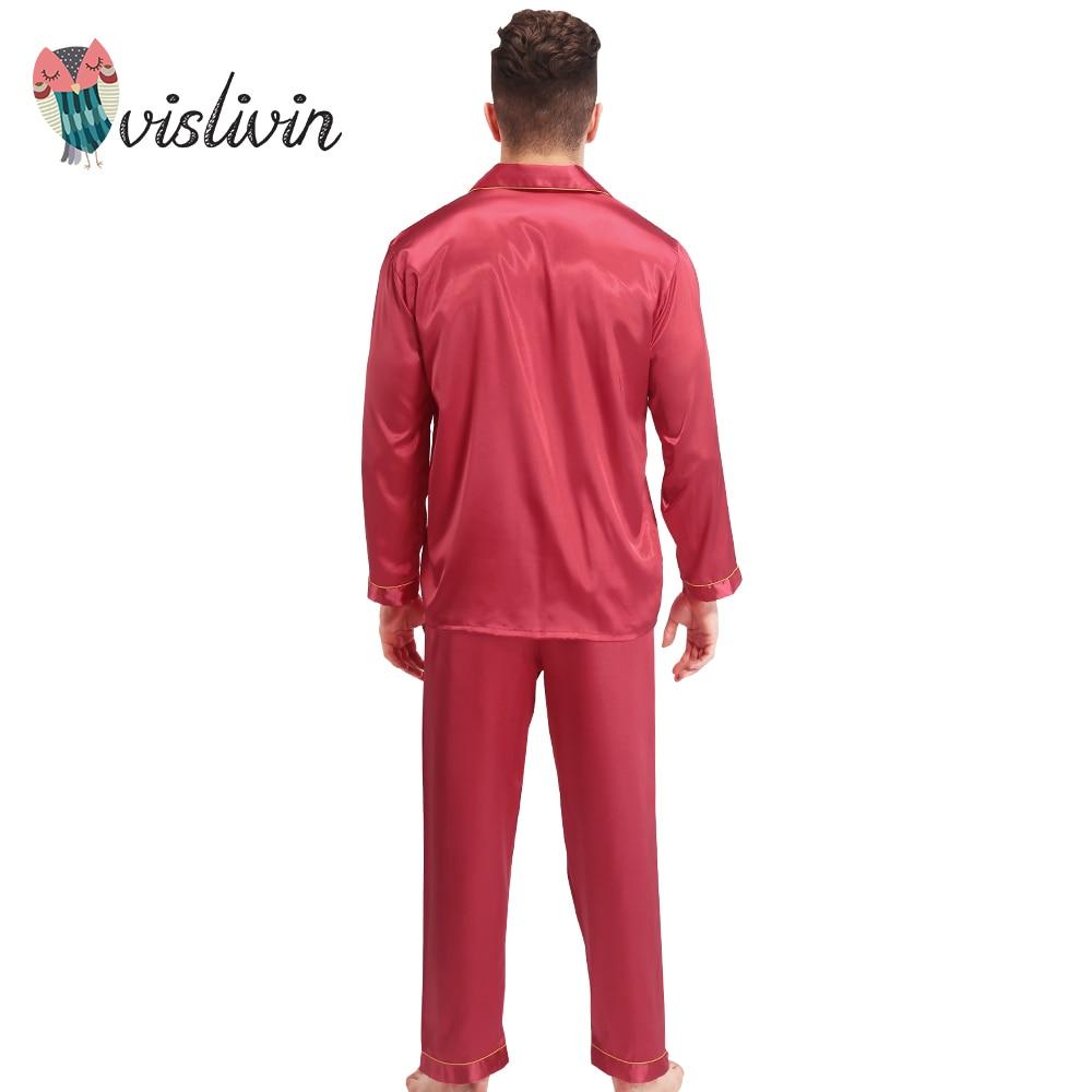 0600049ca7 Vislivin Silk Pajamas Women Long sleeve Solid Satin Pyjamas Men Love  Sleepwear Woman s Lounge Couples Pajama Sets Pijama -in Pajama Sets from  Underwear ...