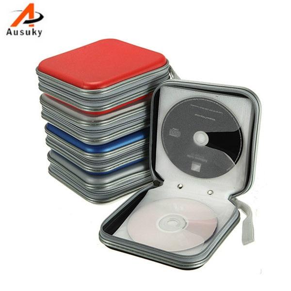 A ausuky new portable 40 disc capacity dvd cd case for car media storage cd bag 15 in cd bags - Mobile porta cd ...