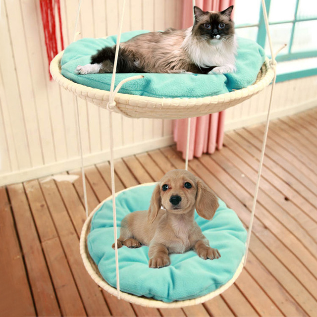 Cats Hammock cats bed One layer Two-layer Cat Grab Shelf Cat Jumping Woven-Straw Eco-friendly and Durable Comfort and warmth