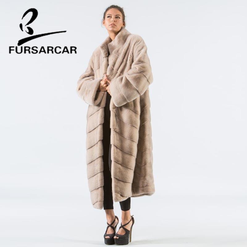 Femmes Fursarcar Outwear Arrivée Style Veste Fourrure Long Col De Peau Réel Avec Beige blue Manteau Vison Hiver Femelle Nouvelle L'ensemble khaki black SzpUMV