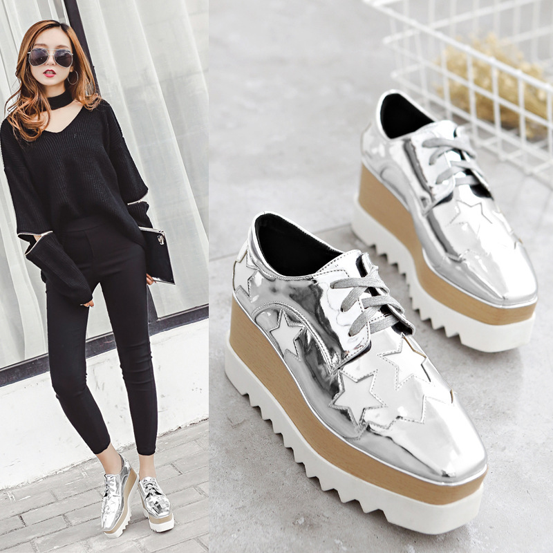 Dropshipping Women's Oxfords Patent Leather Star Lace Up Oxfords Shoes for women Loafers Comfort Ladies Creeper Flats Shoes high quality women oxfords platform shoes patent leather tassel slip on pointed creeper lace up brogue loafers brand size 34 43