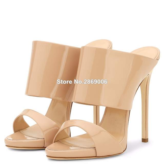 f07e46de0 Women High Heel Sandals Metallic Rose Gold Patent Leather Mule Nude Heels  Blush Summer Shoes Ladies Party Shoes Plus Size-in High Heels from Shoes on  ...