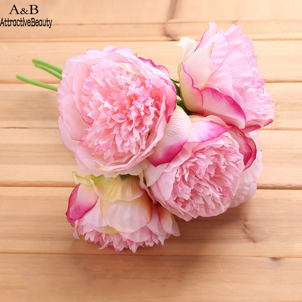 Vintage Plastic Flower European 1 Bouquet Artificial Flowers Fall Vivid Peony Fake Leaf Wedding Home Party Decoration